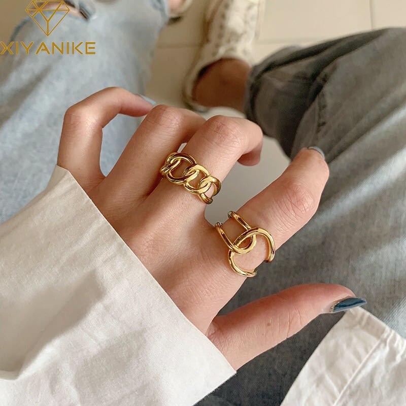 XIYANIKE-Anillo de plata de primera ley diseño cadena para mujer, sortija, plata esterlina 925, Cruz, diseño moderno, hecho a mano