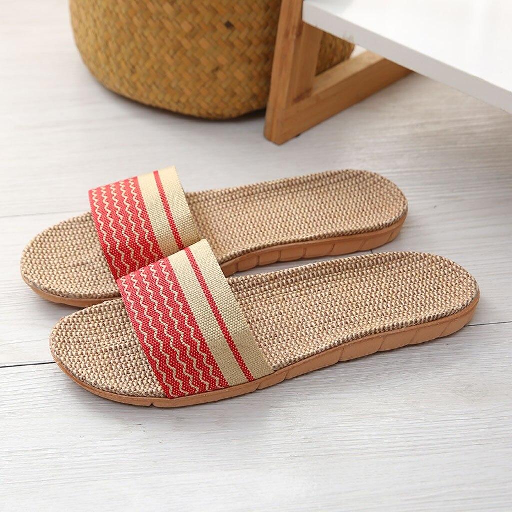 Femmes pantoufles de lin nouveau été chaussures d