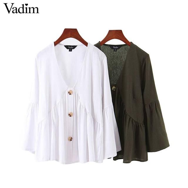 Vadim sólida básica das mulheres do vintage blusa V pescoço camisa de manga longa feminino casual desgaste do escritório plissado branco chic tops LB309