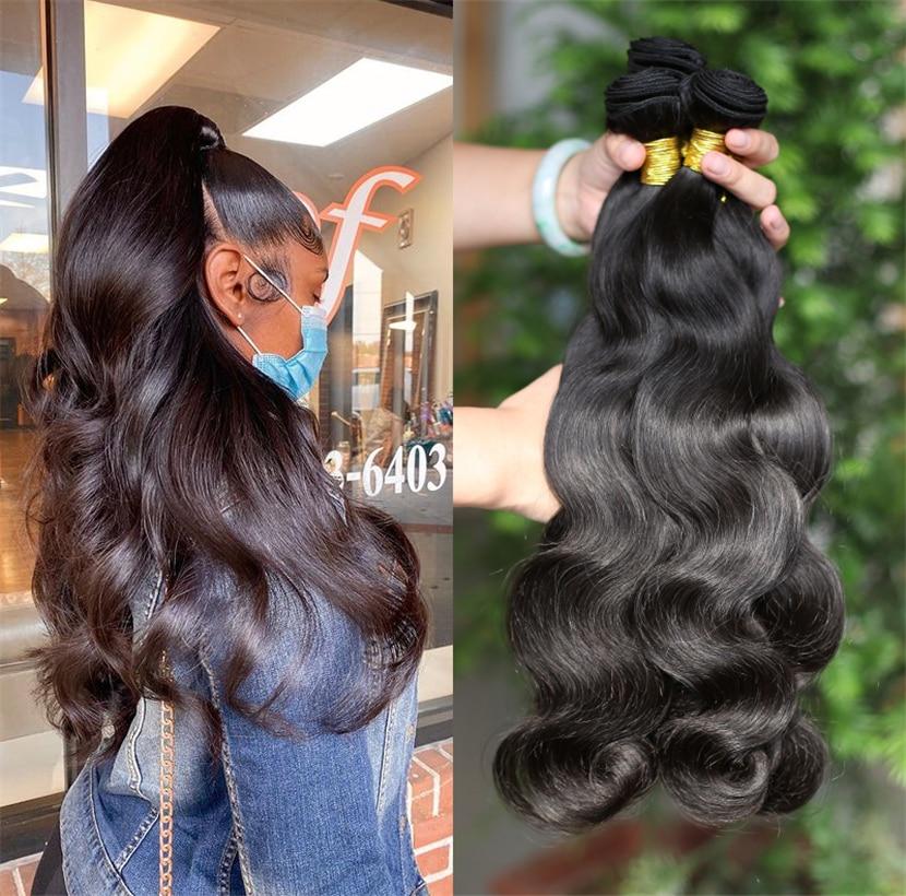 Real impresión Remy pelo brasileño de la onda del cuerpo extensiones de cabello humano 1/3/4 piezas negro Natural mechones de cabello humano postizo 10 ~ 30 pulgadas