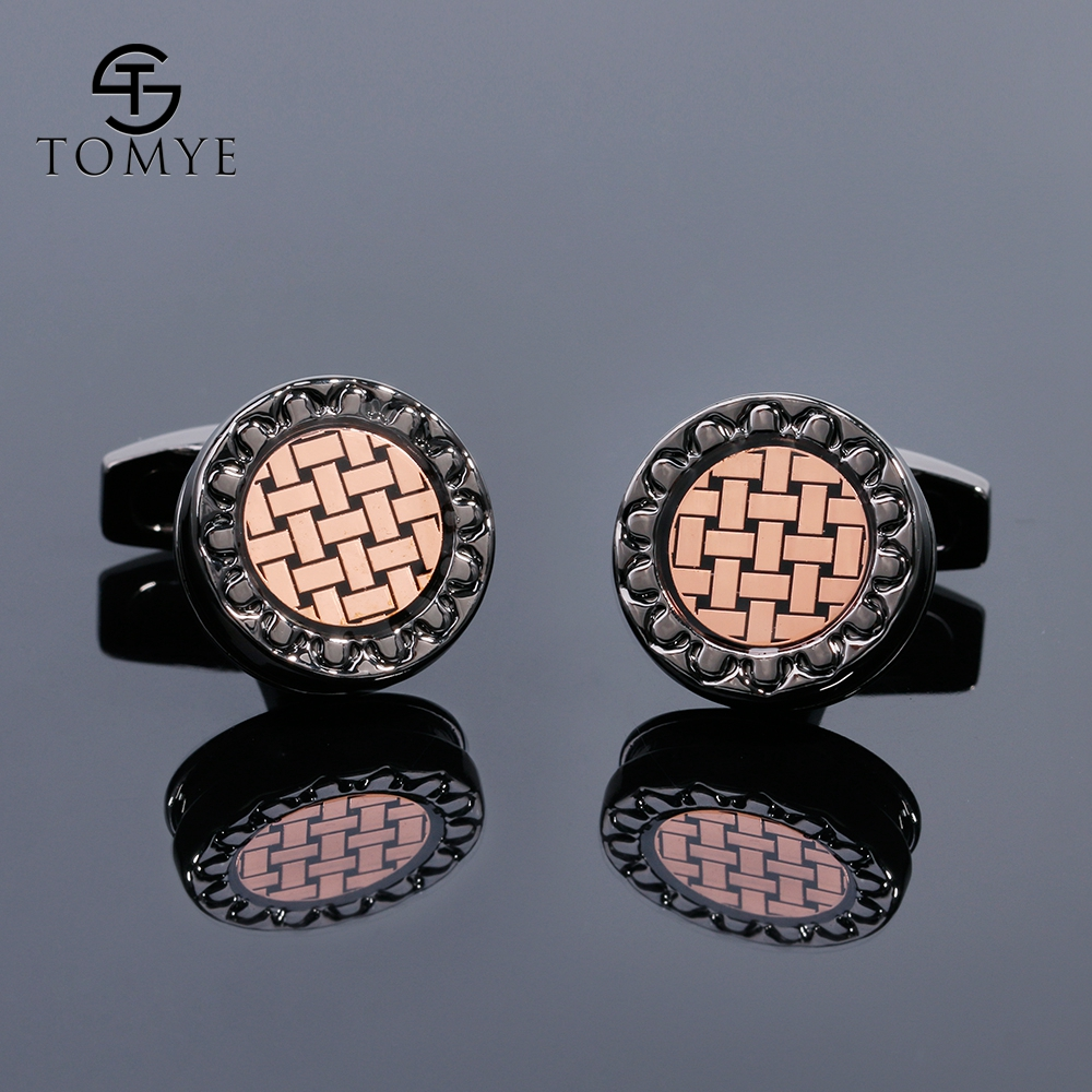 TOMYE Mens Cufflinks High Quality Round Shaped Woven Sleeve Button Business Wholesale Cuff Links For Gift XK19S139