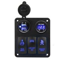 цена на LED Switch Panel 3 Gang Rocker Switch Toggle Dual USB Charger Socket Adapter For Marine Boat Car Work Light Bar