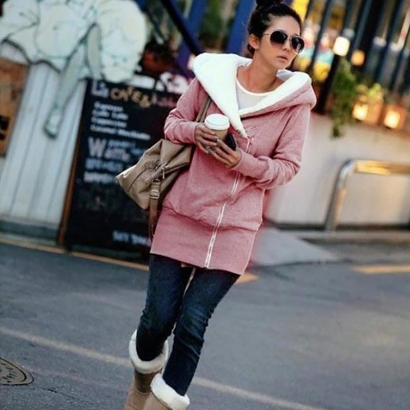 Clearance Sale Women Zipper Hoodies Plus Velvet Thicken Sweatshirt Long Sleeve Outdoor Hoody Long Sleeve Zip Hooded Ladies