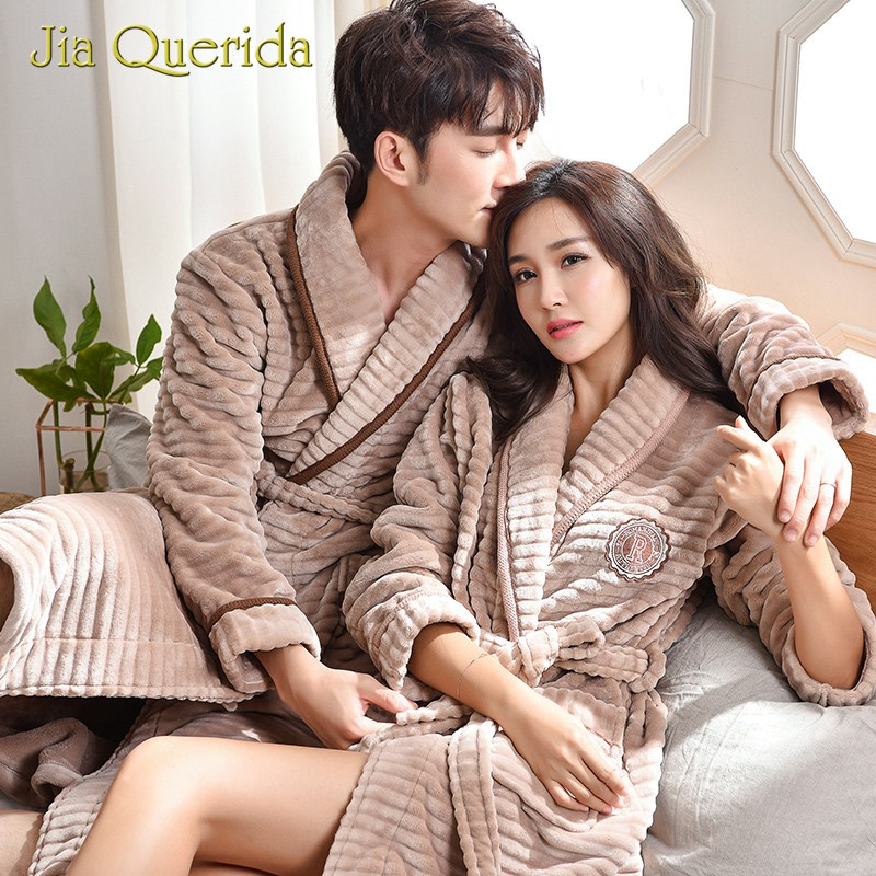 Winter Long Robe Couple Teddy Style Soft Warm Flannel Pocket Loose Weight Belt Leisure Khaki Turn-down Collar Matching Bathrobes