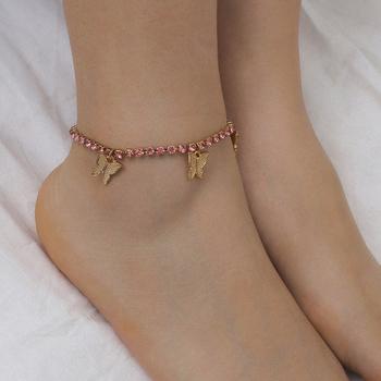 1 sztuk kryształ motyl łańcuszek na kostkę Rhinestone bransoletka na kostkę bransoletki plażowe na kostkę dla kobiet sandały stóp bransoletki damska biżuteria tanie i dobre opinie Ze stopu cynku Cyrkonia Kobiety TRENDY Zwierząt