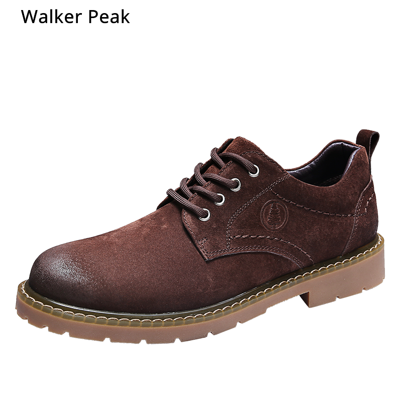 100% Genuine Leather Oxfords Shoes Men Cow Leather Casual Shoes Male Outdoor High Quality Mens Flats Lace-Up Footwear Walkerpeak