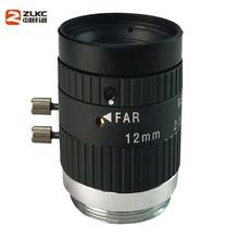 Nouvel objectif CCTV 5.0 mégapixels 12mm objectif Focal fixe F2.4 2/3 pouces caméra industrielle c mount lentille de Vision Machine à faible distorsion