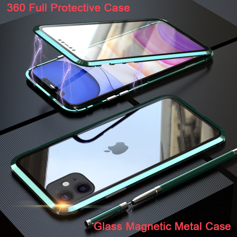 360 full Magnetic Adsorption Case for iPhone XR XS MAX X 8 7 Plus Tempered Glass The front Back Cover for iPhone 7 8 Plus Cases(China)