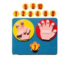 Crianças brinquedos de matemática contagem de dedos 1-10 aprendizagem montessori sentiu número de dedo ajuda de ensino diy artesanato criança brinquedos educativos