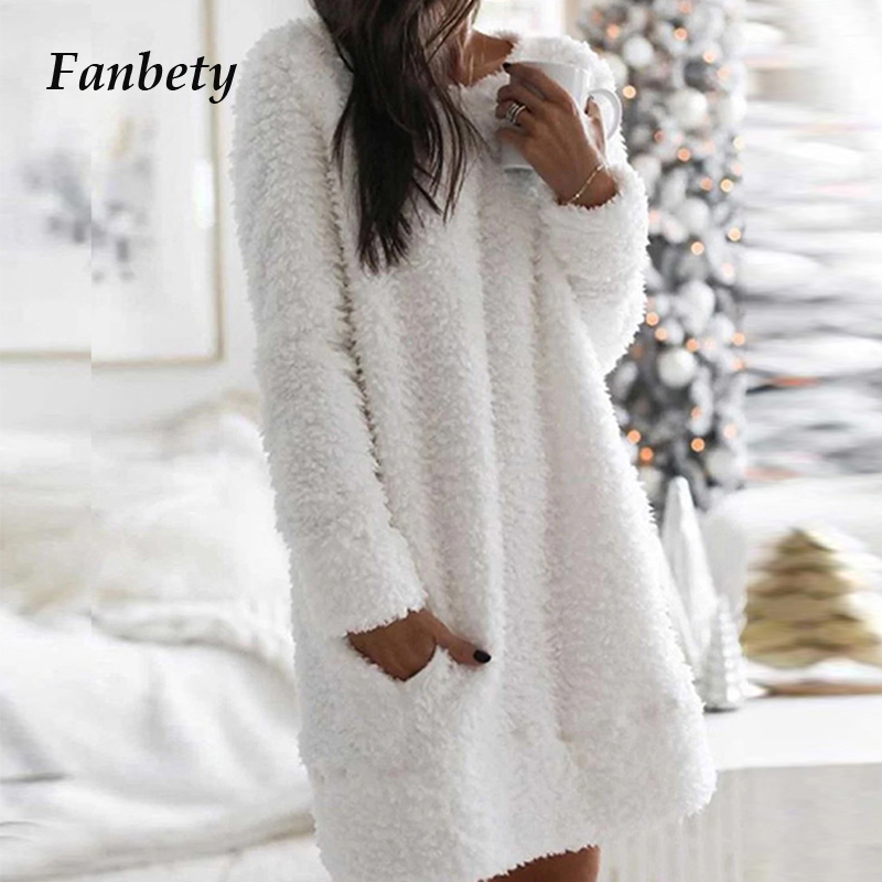 Autumn Solid Elegant O Neck Simple Dress 2020 Casual Loose Women Plush Mini Dresses Winter Long Sleeve Warm Party Dress Vestidos