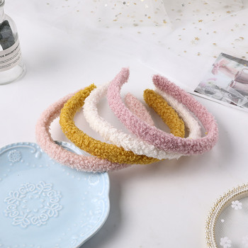 New Soft Plush Hairband Women Candy Color Headband Furry Lambs Wool Head Hoop for Women Headwear Girls Hair Accessories image