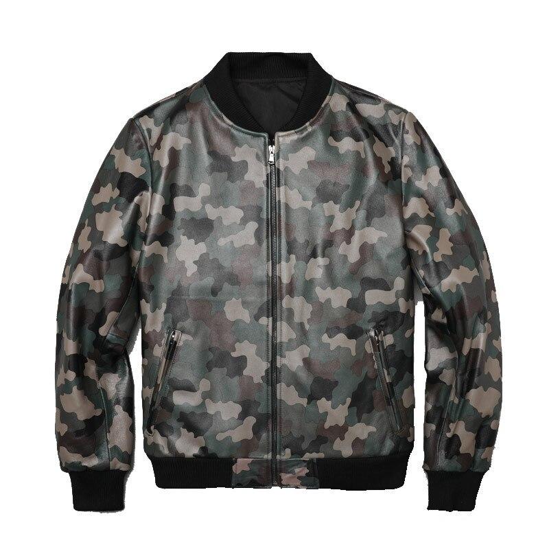2019 Men's Camou Sheepskin Leather Jacket Baseball Motorcycle Genuine Leather Coat For Male