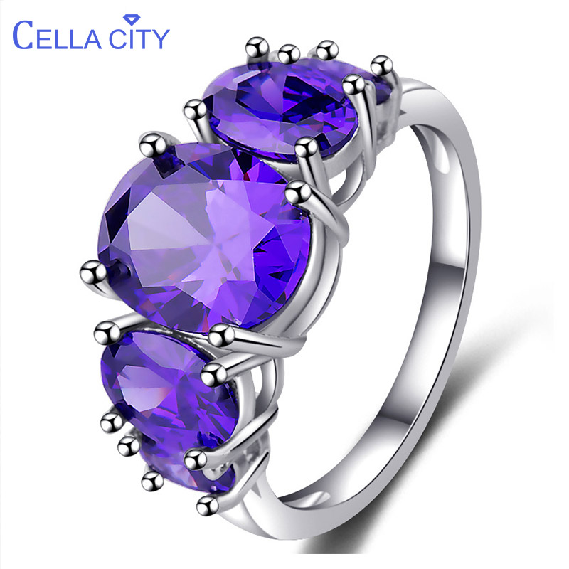 Cellacity Classic Silver 925 Ring For Women With  8*10mm Oval Amethyst  Gemstones Women Fine Jewelry Wholesale Party Gift