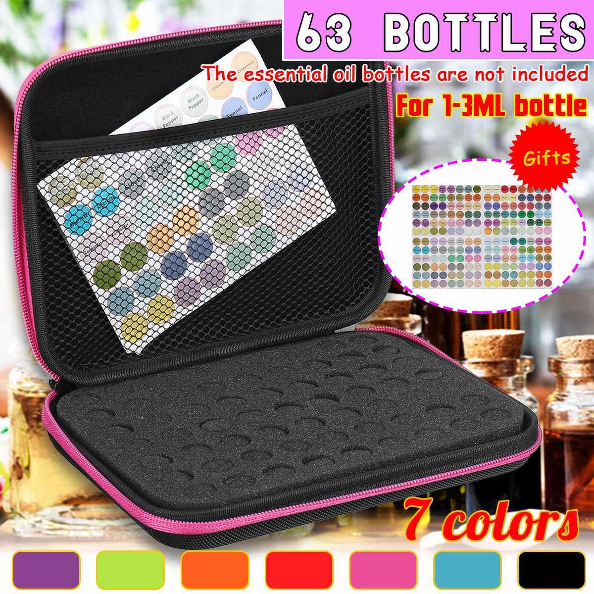 Essential Oil Storage Bag 63 Bottles EVA For 1-3 Ml Essence Oil Bottles Box Carrying Case Travel Home Portable Handbag Organizer