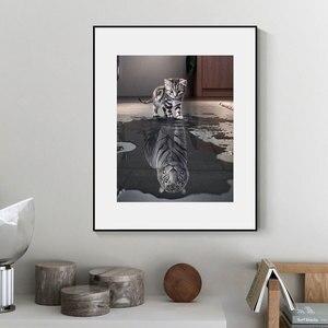5D Diamant Malerei Katze Reflexion Tiger Kreuz Stich Diy Diamant stickerei Tier Mosaik Strass Bild Home Decor Verkauf