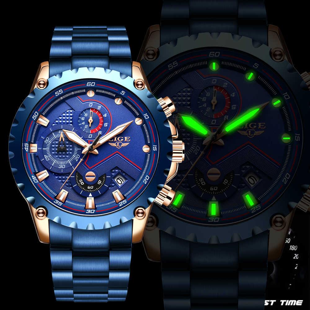 חדש 2020 ליגע אופנה כחול נירוסטה Mens שעונים למעלה מותג יוקרה עמיד למים קוורץ שעון גברים תאריך חיוג ספורט הכרונוגרף