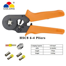 HSC8 6-4 SELF-ADJUSTABLE MINI-TYPE CRIMPING PLIER 0.25-6mm2 23-10AWG straight Crimping Hand Tools Wire Connector HSC8 Tools set hsc8 6 4 hsc8 6 4a mini type self adjustable crimping plier 0 25 6mm2 terminals crimping tools multi tools hands pliers