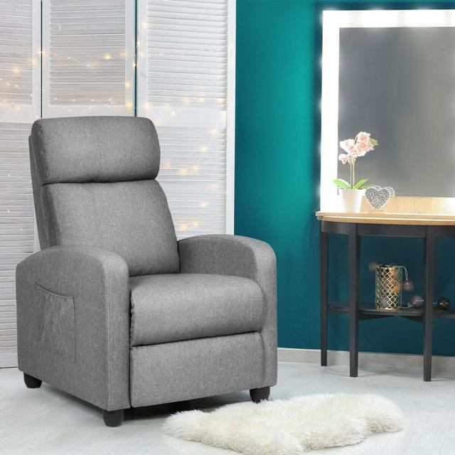 Massage Recliner Chair Single Sofa Fabric Padded Seat Theater Home w/ Footrest Gray 1