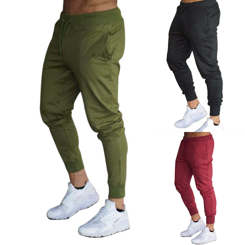 Fashion Solid Men Pants Fitness Casual Elastic Sportswear Bottoms Men Bodybuilding Casual Sweatpants Joggers Track Pants Army