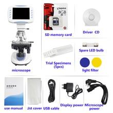 5MP Zoom 200X-5000X Professional electronic digital HD Biological Lab Microscope 6.5-inch LCD camera Memory card USB interface