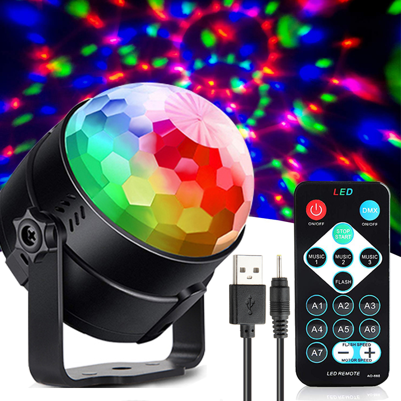 USB DC 5V colorful effect disco stage light IR control ktv dj strobe holiday light sound activated garland family party lights