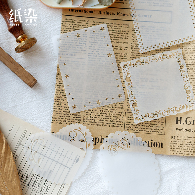 DEHMJJ 15 Sheets/pack Hollow Transparent Sulfate Butter Paper Memo Pads Loose Leaf Notepad Diary Creative Writing Note Memo Pads