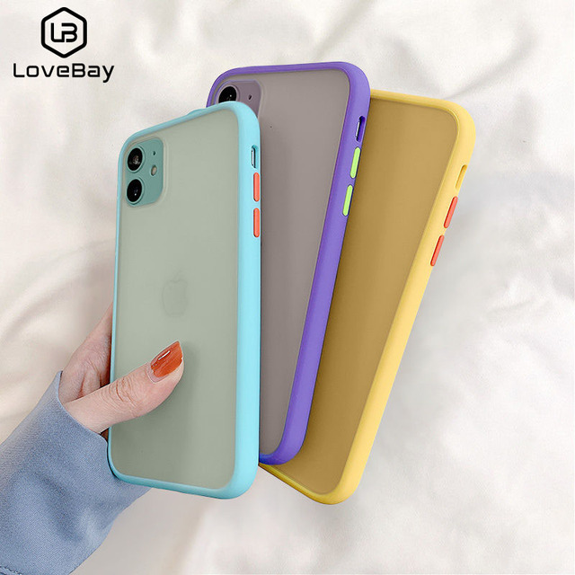Lovebay simples mint híbrido matte caso pára-choques para iphone se 2020 11 pro max x xr xs max 8 7 plus capa de silicone macio à prova de choque