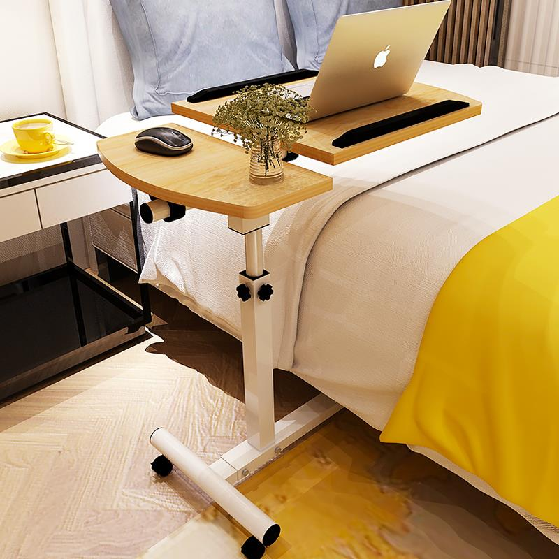 Movable Bedside Computer Table Easy Lifting Folding Desk Lazy Bedside Table Assembly Small Table On The Bed With Wheel