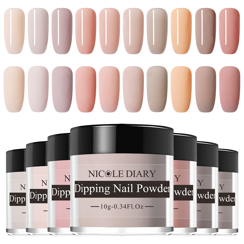 NICOLE DIARY 10g Nude Series Powder Set  French Dipping Nail Glitter Without Lamp Cure Dip Nail Powder  Art Design