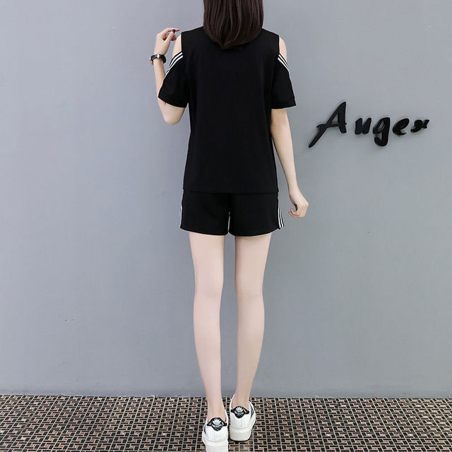 Large Size Women's Casual Suit Summer Loose Thin Strapless Two-piece Short-sleeved T-shirt 2