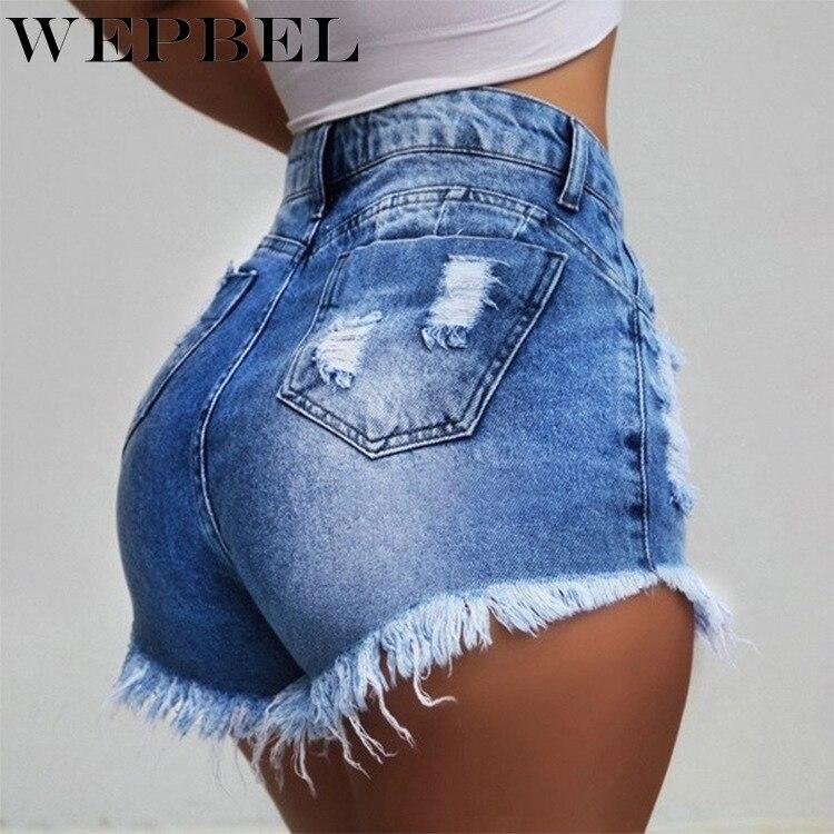 WEPBEL Hot Shorts Washed Jeans Summer Denim Ripped High Waist Shorts Short Pants Plus Size