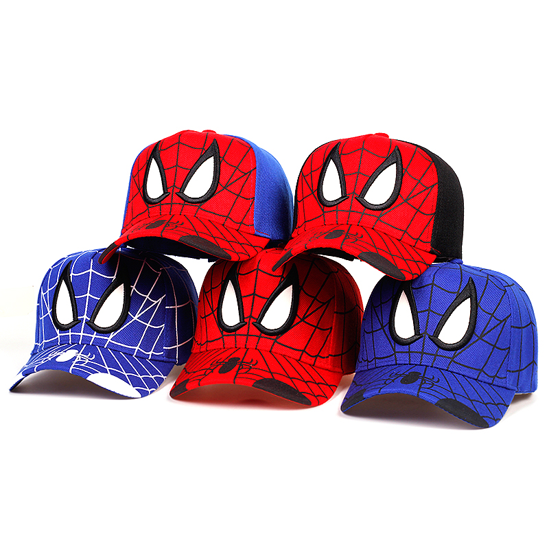 New Spiderman Cartoon Embroidered Baseball Caps Baby Boys And Girls Cotton Sun Hats Kids Hip Hop Hat Party Cosplay Cap Gorras