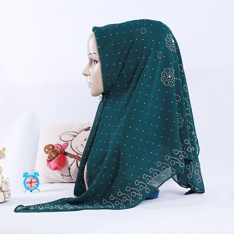 Image 4 - Nueva bufanda cuadrada musulmana de chifón perla de estilo  nacional 105*105cm bufanda de moda para mujer con cuentas al por  mayorRopa islámica