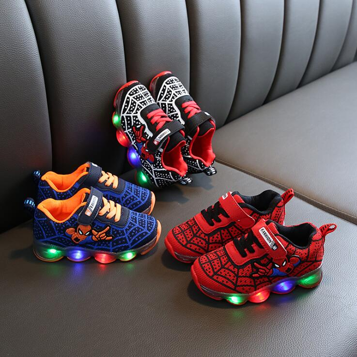 Spider Man Kids Shoes With Lights Autumn Winter Toddler Boys Glowing Sneakers Children's Sports Shoes Girls Warm Led Sneakers