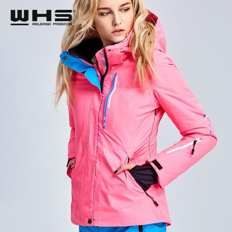 WHS veste de ski pour femmes veste thermique de sports de plein air d'hiver imperméable, coupe-vent et respirant veste en coton