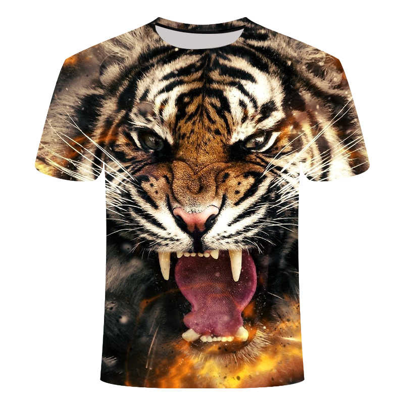 ผู้ชาย 2019 ฤดูร้อน Lion 3D เสื้อยืดแฟชั่นผู้ชายพิมพ์สัตว์เสื้อยืดผู้ชาย Casual Cat TEE แขนสั้นเสื้อ Homme 6XL