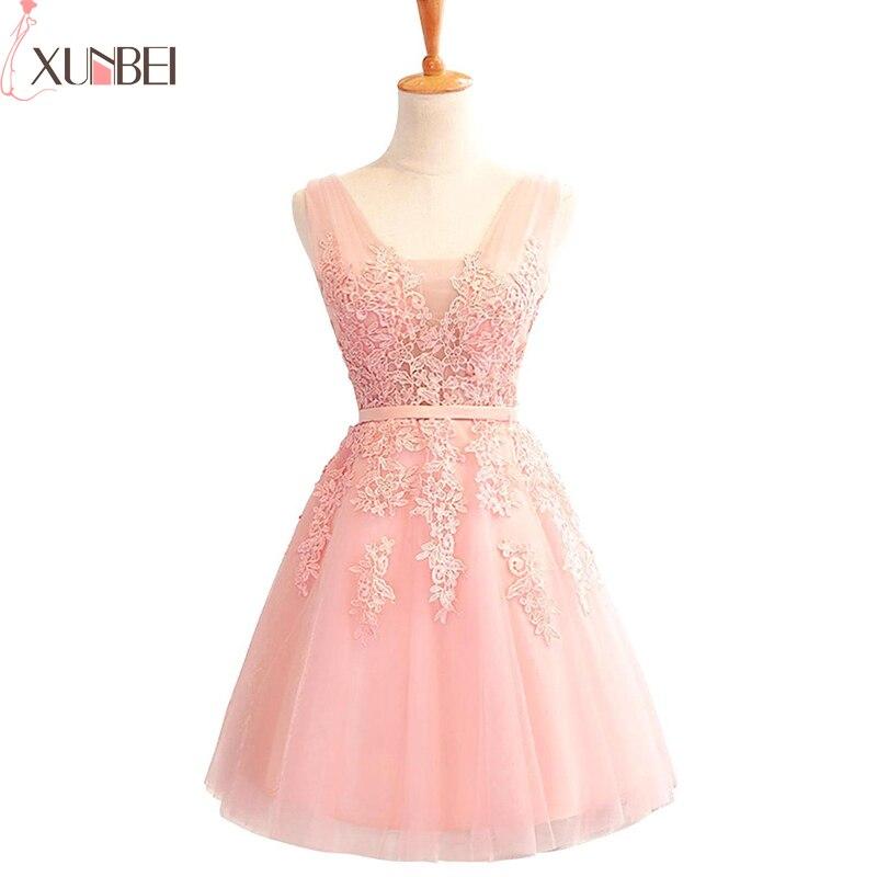 Bridesmaid     Dress   Lace Appliques Tulle Knee-Length Women Short   Dress   Wedding Guest   Dress   2019 For Wedding Party vestido madrinha