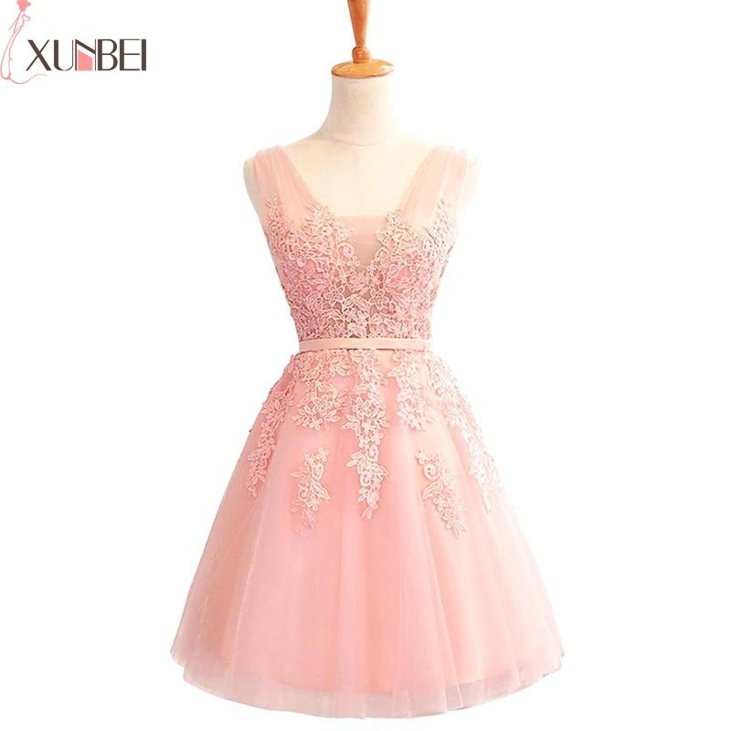 Bridesmaid Dress Lace Appliques Tulle Knee-Length Women Short Dress Wedding Guest Dress For Wedding Party Vestido Madrinha