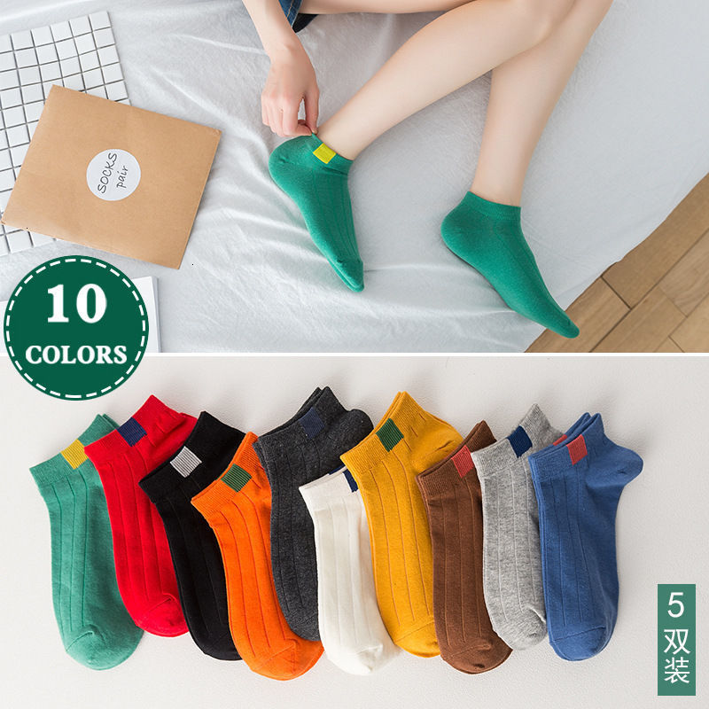 5 Pairs 2020 New Fashion Men Socks Short Ankle Socks Cotton College Style Lines Black Casual Sock Size 39-43  Hip Hop Women Sock