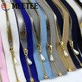 Meetee 5/10pcs 40-70cm 3# Metal Zipper Open-End Auto Lock Gold Pearl Slider DIY Bags Purse Garment Decor Zip Sewing Accessories