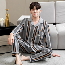 100% Cotton Pijama for Men Plaid Autumn Winter Sleepwear Pajamas Pyjamas Set 3XL Casual Striped Male Homewear Home Clothes