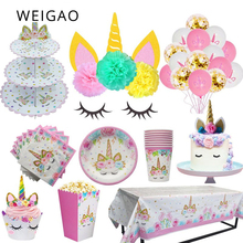 WEIGAO Pink Unicorn Party Supplies Unicornio Decoration Banner Plates Balloons Napkin Baby Shower Kids Birthday Decoration