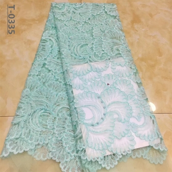 Aqua green African Lace Fabric High Quality French Tulle Lace Fabric 2020 Nigerian Laces Guipure Embroidery Fabric For Wedding