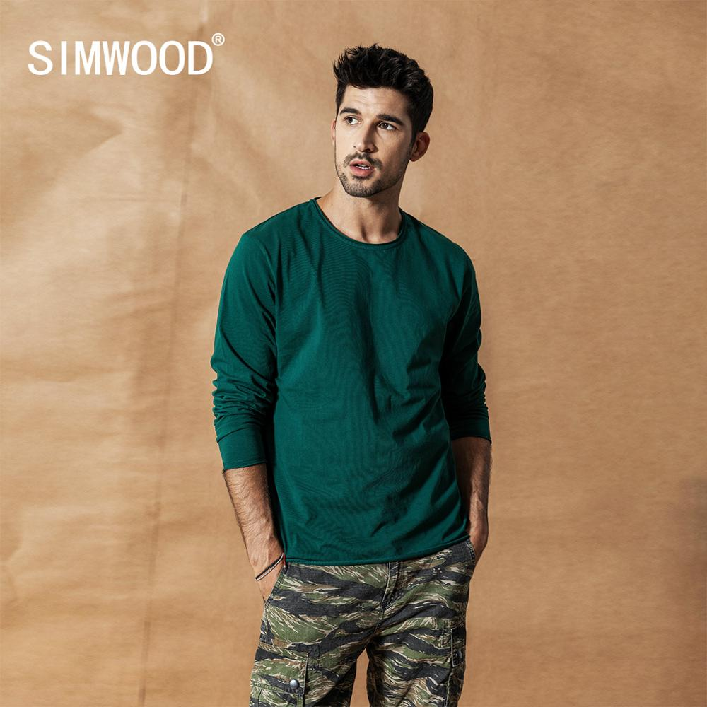 SIMWOOD 2019 Autumn Winter New Long Sleeve Solid T Shirt Men Raw Roll Hem T-shirt Texture Quality 100% Cotton Tops SI980585