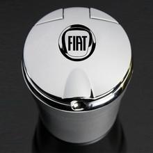 Con Led coche con luces logotipo creativo Cenicero con personalidad para Fiat 500c Aegea Panda Uno Palio Tipo Doblo emblema de coche Auto Accesorios