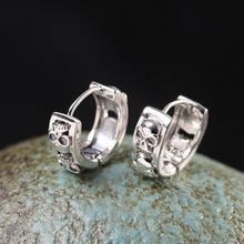 925 Sterling Silver Vintage Fashion Fashion Skull Earrings For Women Men jewelry Wedding Stud Earring stylish rhinestone skull stud earring