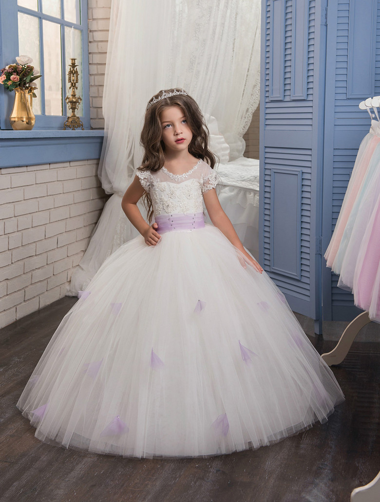 2019   Flower     Girl     Dresses   For Weddings Ball Gown Cap Sleeves Tulle Lace Beaded Bow Long First Communion   Dresses   Little   Girl