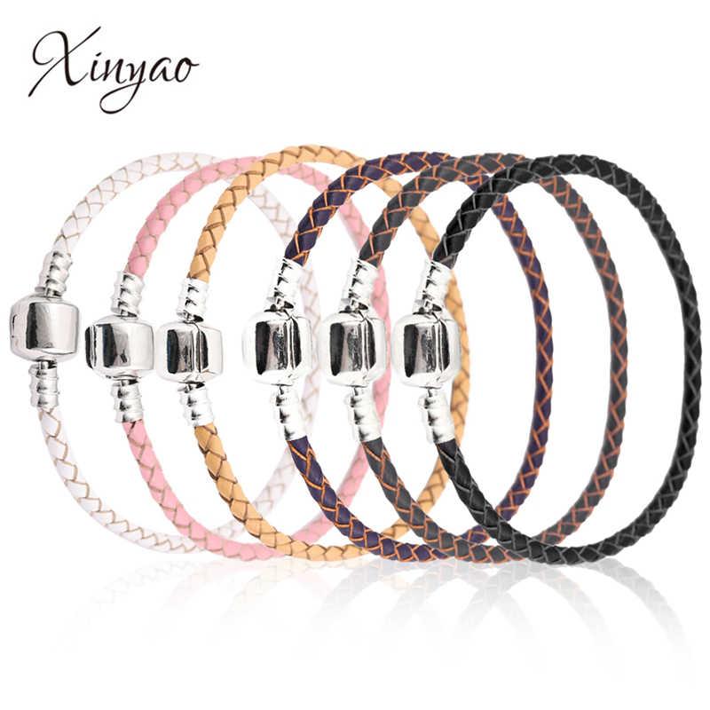 Xinyao 12 renkler 16-20cm deri Charm bilezik kadınlar için Fit orijinal göz alıcı boncuk DIY marka tasarım bilezik Dropshipping