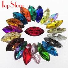 Toplone navette strass 5x10,6x12,7x15,9x18,17x32mm todas as cores pointback pedras de cristal de vidro para diy vestuário vestido fazendo