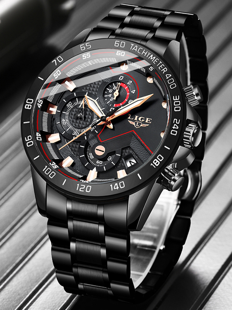 LIGE Mens Watches Chronograph Stainless-Steel Sport Top-Brand Fashion Luxury Relogio
